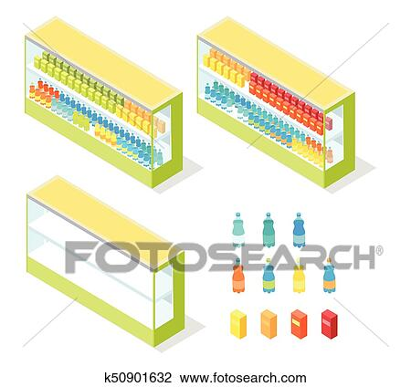 Drinks in Groceries Showcase Isometric Vector Clipart