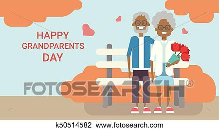 Clipart of happy grandparents day greeting card holiday banner clipart happy grandparents day greeting card holiday banner african american grandfather and grandmother couple sitting m4hsunfo