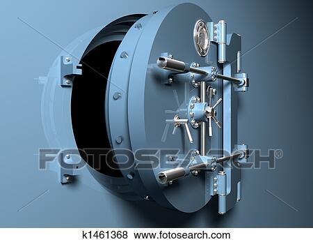 Rond, chambre forte banque, porte Banque d\'Illustrations | k1461368 ...