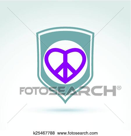 Clip Art Of Round Peace And Love Vector Icons K25467788 Search