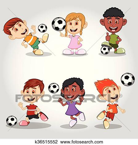 Satz Von Kinder Spielen Fussball Clipart K36515552