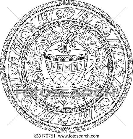 Clipart - té, y, café, theme., círculo, tribal, garabato, ornamento ...