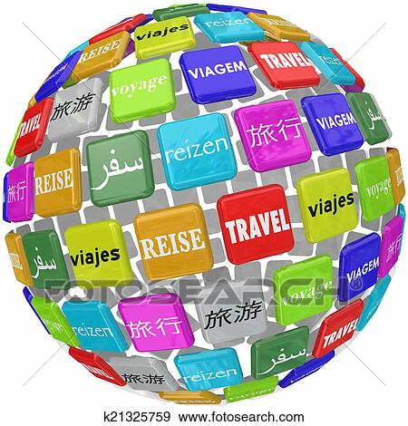 Stock Photograph Of Travel Word Translation Different Global