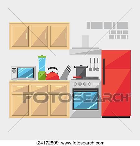 Clip Art - appartamento, disegno, di, cucina, interno k24172509 ...