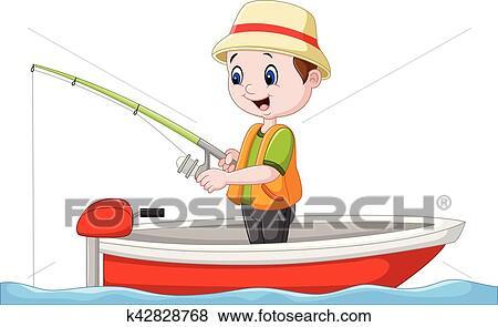 Cartoon Boy Fishing On A Boat Clip Art K42828768 Fotosearch