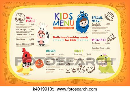 Clipart Of Cute Colorful Kids Meal Menu Template K40199135 Search