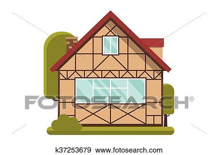 Clipart Demi Timbered Petite Maison Bois K37253679 Recherchez