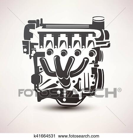 Clipart Of Engine Car Symbol Stylized Vector Silhouette Icon