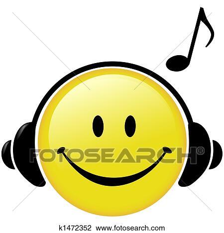 Clipart Feliz Música Auriculares Nota Musical K1472352 Buscar