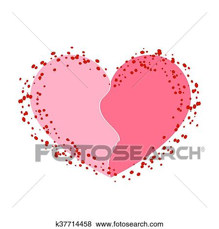 Clip Art Of Halves Heart Icon Pink White K37714458 Search Clipart
