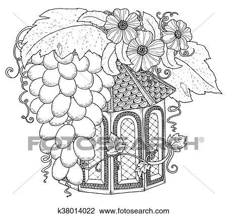Hand Gezeichnet Aufreißen Nistkasten Dekoriert Mit Blumen Ornament Zentangle Inspiriert Muster Für Ausmalbilder Seiten Clipart