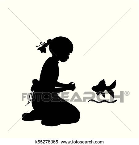 Silhouette Girl Sitting Knees Wish Agoldfish Clipart K55276365 Fotosearch