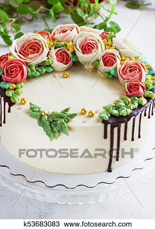Super Birthday Cake With Flowers Rose On White Background Stock Image Funny Birthday Cards Online Elaedamsfinfo