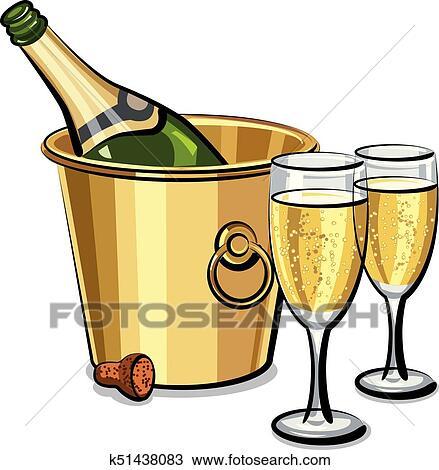 Bouteille De Champagne Dessin clipart - bouteille champagne, dans, seau k51438083 - recherchez des