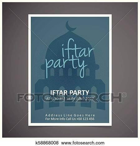 Elegant Iftar Party Invitation Card Design Decorated On Blue
