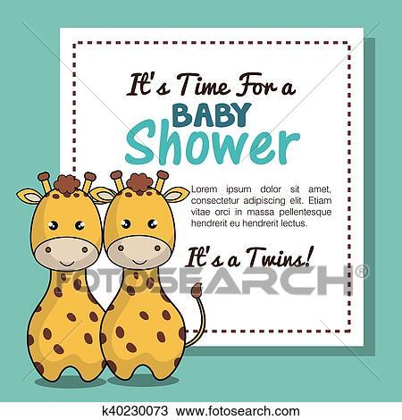 Clipart Of Invitation Baby Shower Twins Boy Giraffe Design K40230073