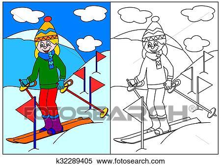Stock Illustration Mädchen Ski Fahrend Bergen A