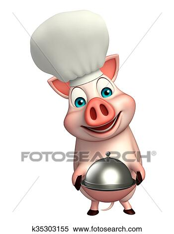 Maiale cartone animato carattere con cappello chef e cloche