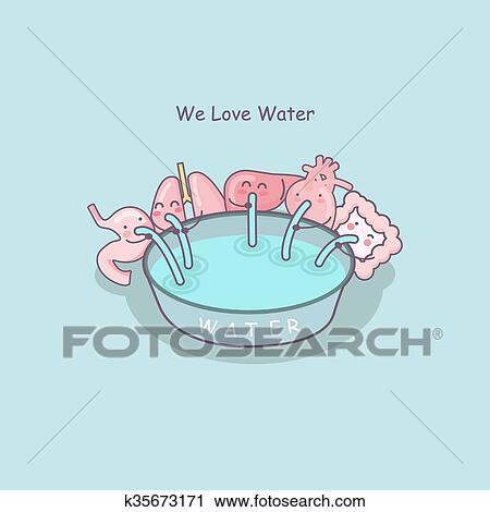 Dessin Amoureux Mignon clipart - mignon, dessin animé, organes, amour, eau k35673171