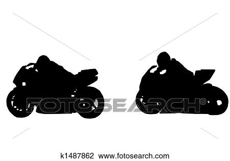 Clip Art Of Motorcycle Racing K1487862 Search Clipart