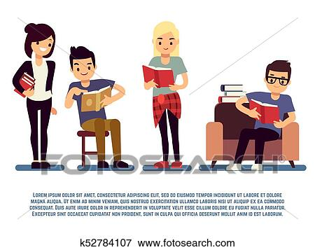 Teenagers And Students With Books Isolated On White Young People Reading Concept Clip Art