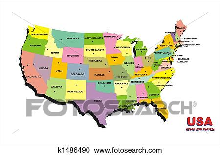 Usa Map Color Clipart