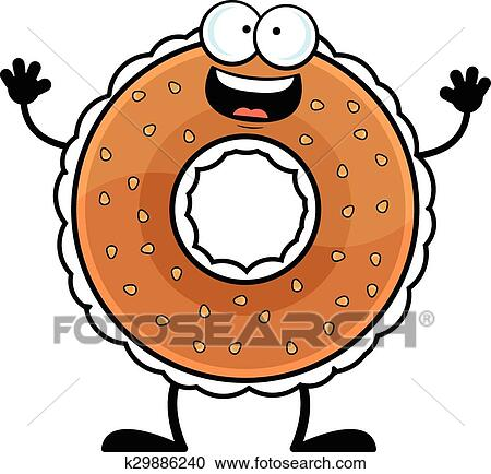 clipart of cartoon bagel happy k29886240 search clip art rh fotosearch com bagel clipart vector funny bagel clipart