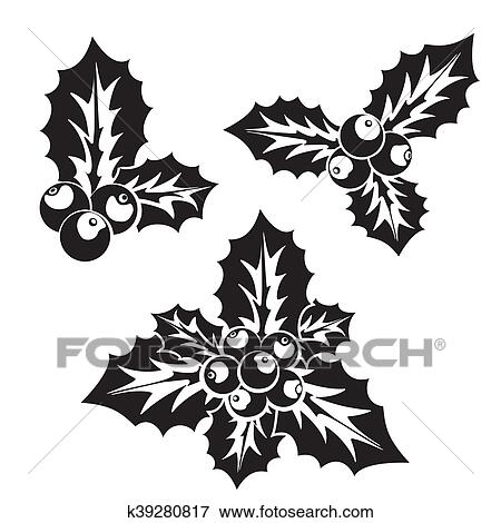 Christmas Holly Silhouette.Christmas Holly Or European Holly Silhouette Clip Art