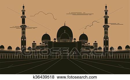 clip art of city buildings graphic template uae mosque k36439518