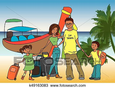 Family Arrived On Holiday On On The Beach Clipart K49163083