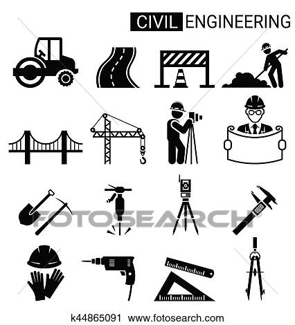 clipart of set of civil engineering icon design for infrastructure