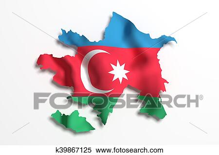 Silhouette Of Azerbaijan Map With Flag Stock Illustration K39867125 Fotosearch