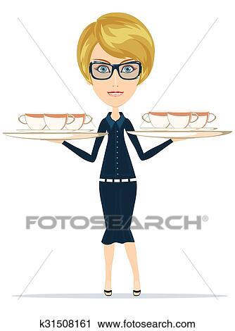 Clipart Sourire Heureux Femme Chef Cuisinier Serveur K31508161