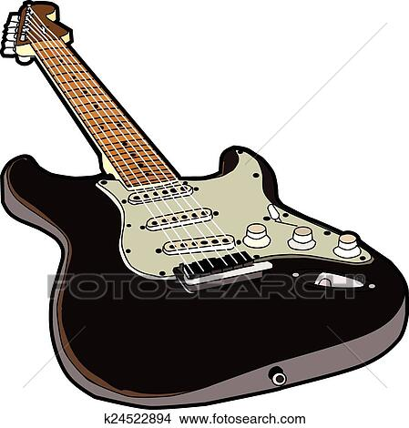 Fender Stratocaster Gibson Les Paul Electric Guitar - Guitar Clipart Black  And White - Free Transparent PNG Clipart Images Download