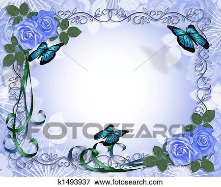 Stock Illustration Of Wedding Invitation Blue Roses Border K1493937