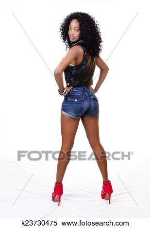 Attractive Black Teen Girl Standing Shorts Vest