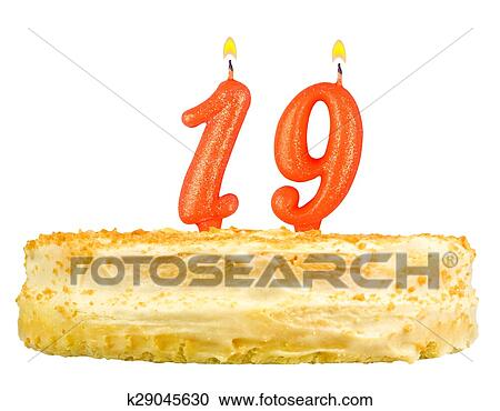 Stock Photography Of Birthday Cake Candles Number Nineteen Isolated