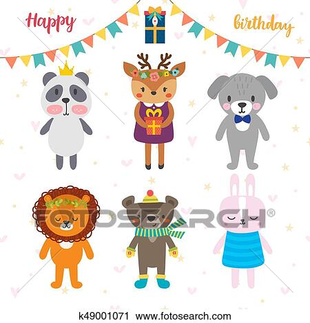 Clipart Of Birthday Greeting Card With Funny Cartoon Animals Cute
