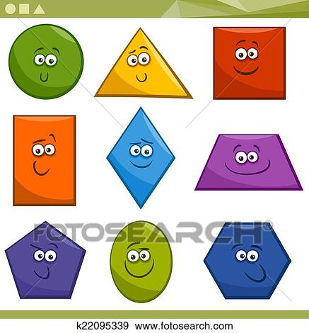 fbed880c81a Cartoon Illustration of Basic Geometric Shapes Funny Characters for Children  Education