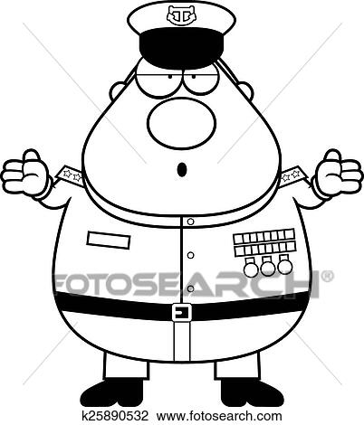Clipart Of Confused Cartoon Navy Admiral K25890532