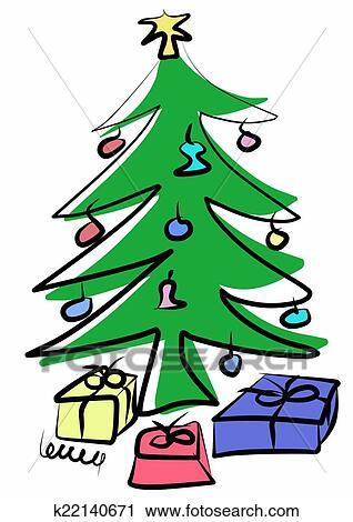 Clipart Hand Gezeichnet Grün Weihnachtsbaum K22140671 Suche