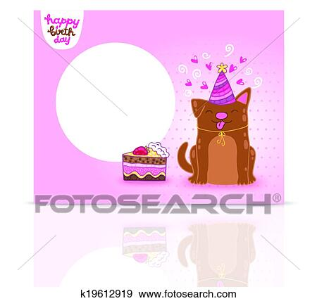 Clip Art Of Happy Birthday Card Background With A Dog K19612919