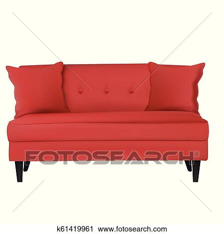 Sofa Furniture Isolated On White Background Clipart