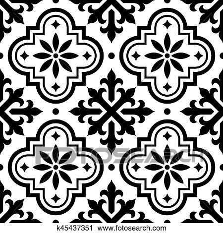 Zwart Wit Tegels.Spaanse Tegel Motieven Marokkaan Tegels Motieven Seamless Zwart Wit Achtergrond Azulejo Clipart