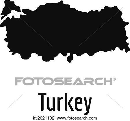 Turkey map in black vector simple Clipart