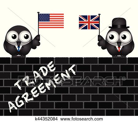 Clipart Of Usa Uk Transatlantic Trade Agreement Negotiations