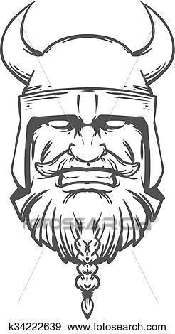 Viking head logo Clip Art | k34222639 | Fotosearch