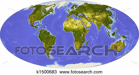 Drawing of world map centered on africa k1500683 search clipart world map in mollweide projection centered on africa shaded relief colored according to dominant vegetation shows polar and pack ice large urban areas gumiabroncs Image collections