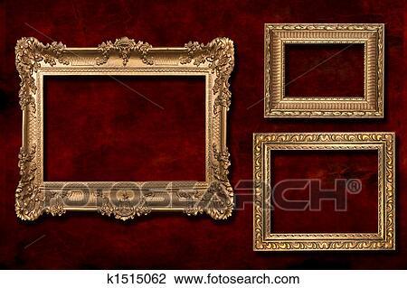 Clip Art Of 3 Gold Frames Against A Grunge Background K1515062