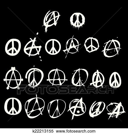 Clipart Of Anarchy And Peace Symbol Logo K22213155 Search Clip Art
